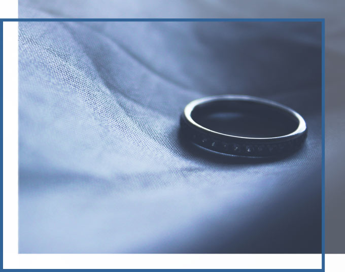 Lonely wedding ring on bed | Dissolution of Marriage Attorneys of GADC Law