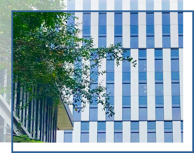 Side of building with trees in the foreground | Commercial Property Claims Lawyer GADC Law