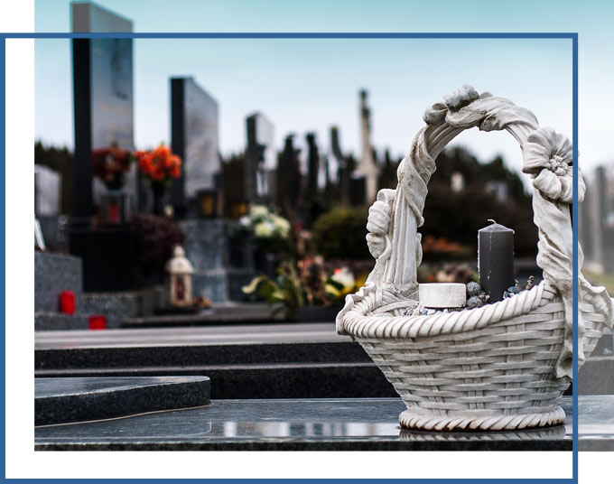 Flower Basket placed on a grave | Florida Wrongful Death Attorneys GADC Law